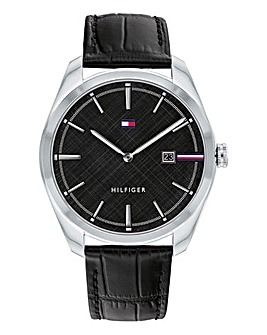 Tommy Hilfiger Mens Theo Black Leather Strap Watch