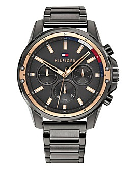 Tommy Hilfiger Mens Mason Grey IP Stainless Steel Bracelet Watch