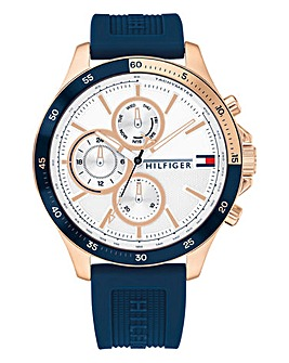 Tommy Hilfiger Mens Bank Blue Silicone Strap Watch
