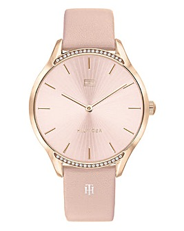 Tommy Hilfiger Ladies Gray Pink Leather Strap Watch