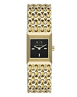 Armani Exchange Ladies Two-Hand Gold-Tone Stainless Steel Watch