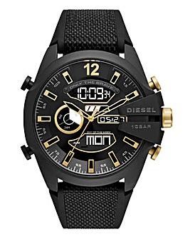 Diesel Black Leather Mega Chief Watch