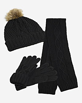 Black Cable Knitted Hat, Scarf & Gloves Set