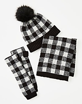 Hat, Scarf & Fingerless Glove Set