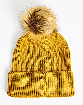 Ochre Knitted Beanie Hat With Pom Pom