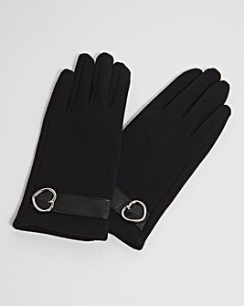 Soft Gloves With Silver Buckle Detail