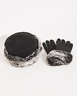 Fur Trim Black Flecce Hat And Glove Set