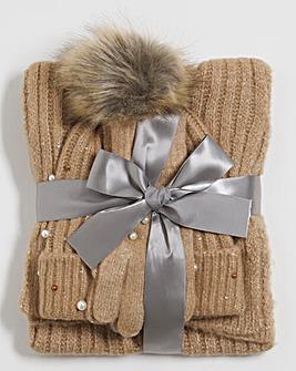 Embellished Hat, Gloves & Scarf Set
