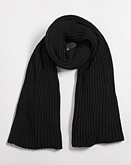 Chunky Oversized Black Knitted Scarf