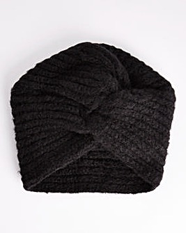 Black Knitted Turban Style Hat