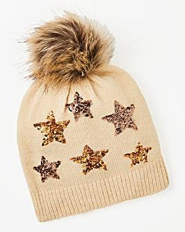 Sequined Star Beanie Hat With Pom Pom
