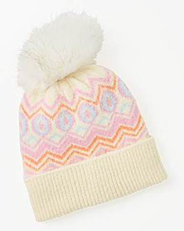 Fairisle Knit Pom Pom Beanie Hat