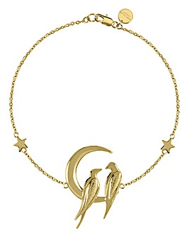 Sara Miller Ladies 'Moonlight' Celestial Design Gold Love Birds Bracelet