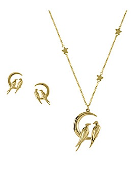 Sara Miller Ladies Moonlight Plated 18ct Love Birds Stud and Necklace Set