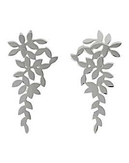 Sara Miller Ladies Leaf Collection One Size Signature Silver Leaf Drop Earrings