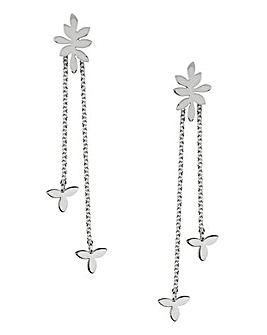 Sara Miller Ladies Leaf Collection Signature Silver Multi Pendant Drop Earrings