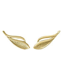 Sara Miller Ladies 'Kew' One Size Plated 18ct Gold Textured Leaf Earrings