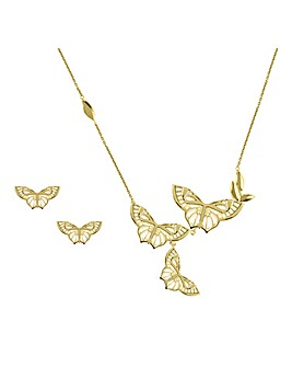 Sara Miller Ladies 'Kew' Plated 18ct Butterfly Stud & Necklace Set