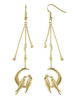Sara Miller Ladies 'Moonlight' Gold Love Birds Drop Earrings