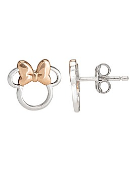 Disney Minnie Mouse Sterling Silver Stud Earrings with Rose Gold Bow