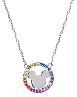 Disney Mickey Mouse Sterling Silver Pendant Necklace with Rainbow Stone