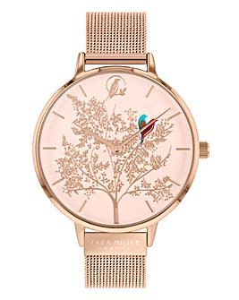 Sara Miller Rose Gold Mesh Strap Large Dial Enchanted Garden Watch