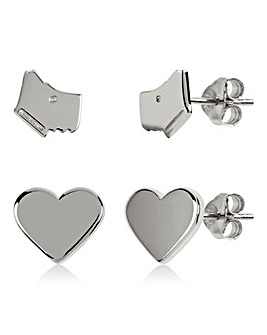 Radley Love Heart Ladies Silver Earrings Set