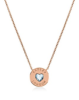 Radley Love Heart Ladies 18ct Rose Gold Plated Sterling Silver Necklace