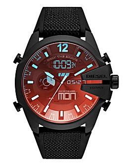 Diesel Mens Black Mega Chief Silicone Strap Watch
