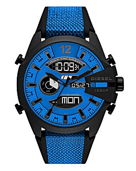 Diesel Mens Blue Mega Chief Silicone Strap Watch
