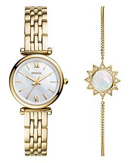 Fossil Ladies Carlie Gold Mini Watch & Bracelet Gift Set