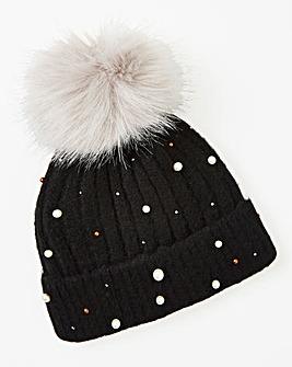 Embellished Pom Pom Beanie Hat