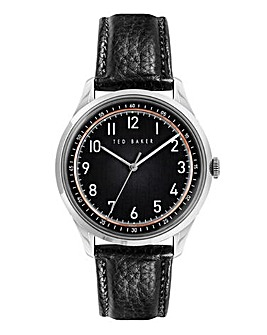 Ted Baker Mens Daquir Black Leather Strap Watch