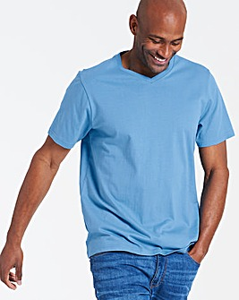 Azure Blue V-Neck T-shirt Long
