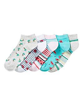 5 Pack Fruit Trainer Liner Socks