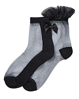 2 Pack Mesh & Bow Detail Socks