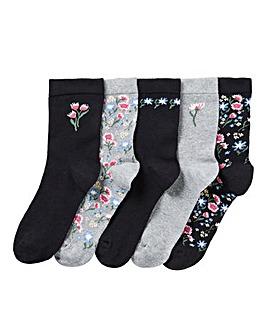 5 Pack Floral Embroidered Socks