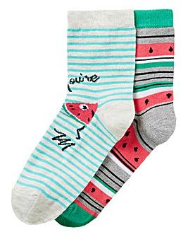 2 Pack Novelty Melon Ankle Socks