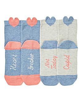 2 Pack Heart Motif Slogan Socks