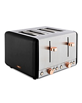 Tower Cavaletto Black and Rose Gold 4 Slice Toaster