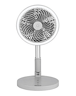 Beldray Cordless LED Foldable Grey Desk and Stand Fan