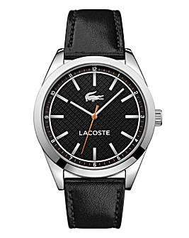 Lacoste Mens Black Leather Strap Watch