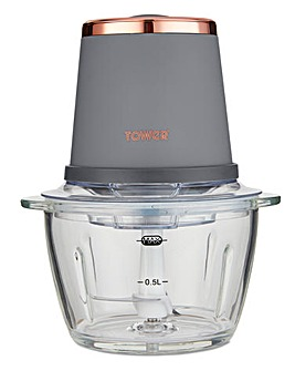Tower Cavaletto 350W 1litre Glass Grey and Rose Gold Mini Chopper