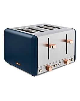 Tower Cavaletto Midnight Blue and Rose Gold 4 Slice Toaster