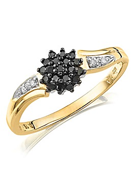 9ct Gold Black Diamond Cluster Ring