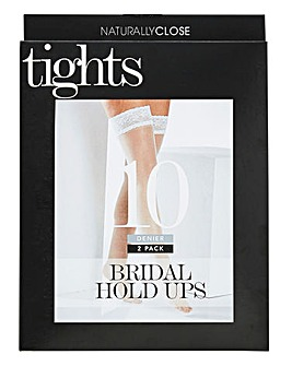 2 Pack White 10 Denier Bridal Hold Ups