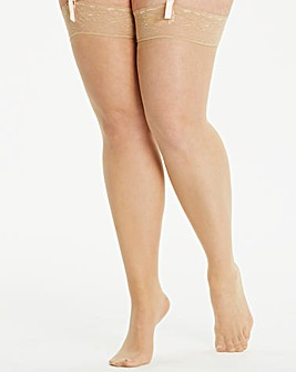 2 Pack Nude 15 Denier Lace Top Stockings