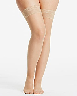 Naturally Close 2 Pack Natural 15 Denier Lace Top Stockings