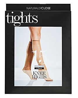 3 Pack Natural Knee Highs 15 Denier