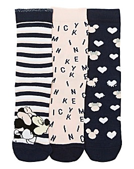3Pk Valentines Minnie and Mickey Socks